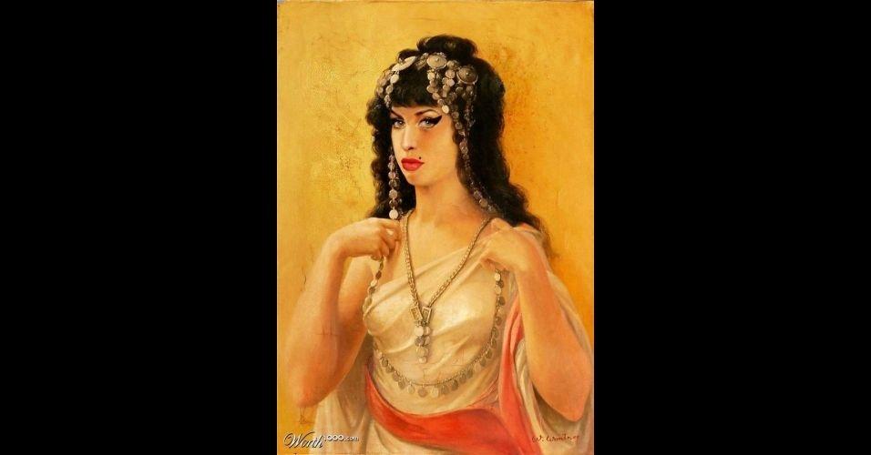 Na imagem, a cantora Amy Winehouse. O site Worth 1000 reúne imagens de celebridades que foram transformadas em pinturas antigas usando editores de imagens