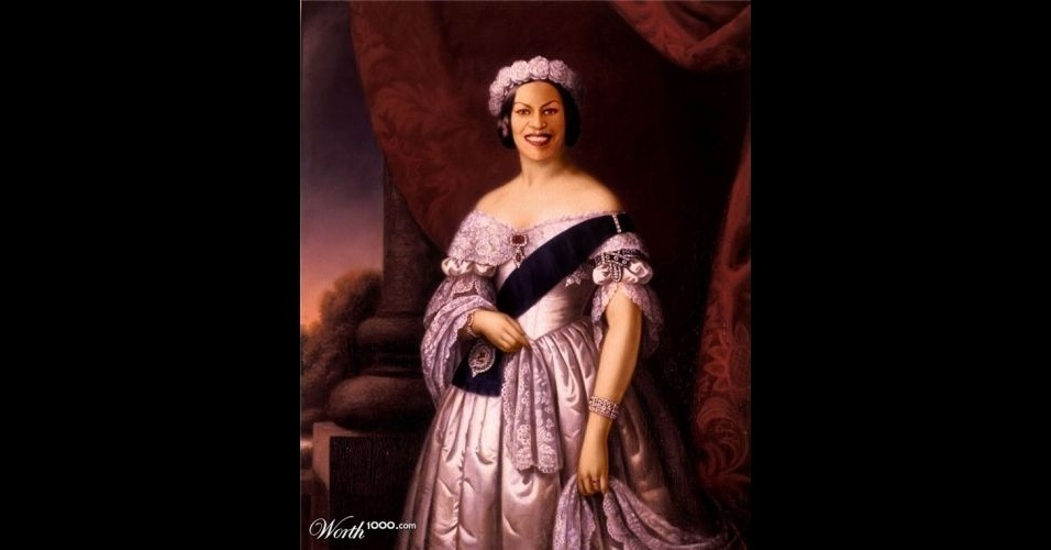 Na imagem, Michelle Obama, a mulher do Presidente americano Barack Obama. O site Worth 1000 reúne imagens de celebridades que foram transformadas em pinturas antigas usando editores de imagens