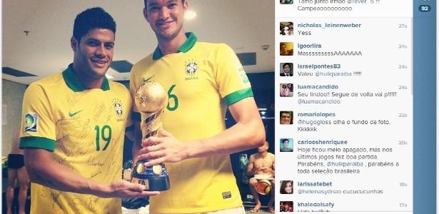 Sem querer, Hulk publica foto indiscreta de Diego Cavalieri na seleção brasileira
