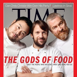 "Capa da revista ""Time"" com os chefs Alex Atala, René Redzepi e David Chang"