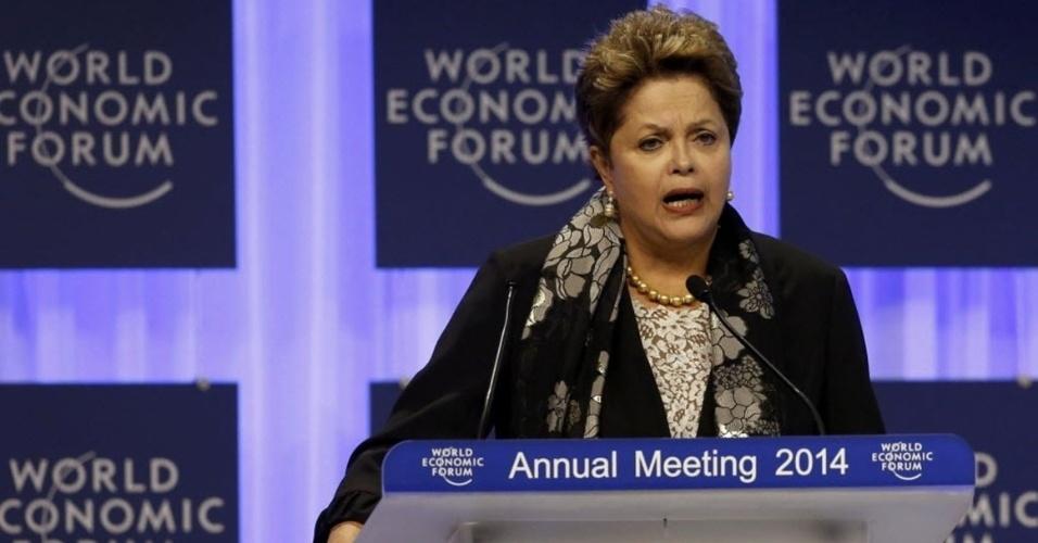 24.jan.2014 - A presidente Dilma Rousseff faz pronunciamento em sessão especial do Fórum Econômico Mundial, em Davos, na Suíça, nesta sexta-feira (24)