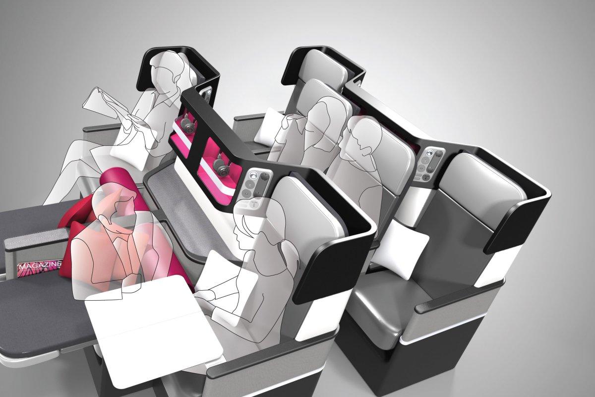 Na configuração para a classe executiva, o sofá lateral pode ser usado para que dois passageiros jantem juntos. (Divulgação).
