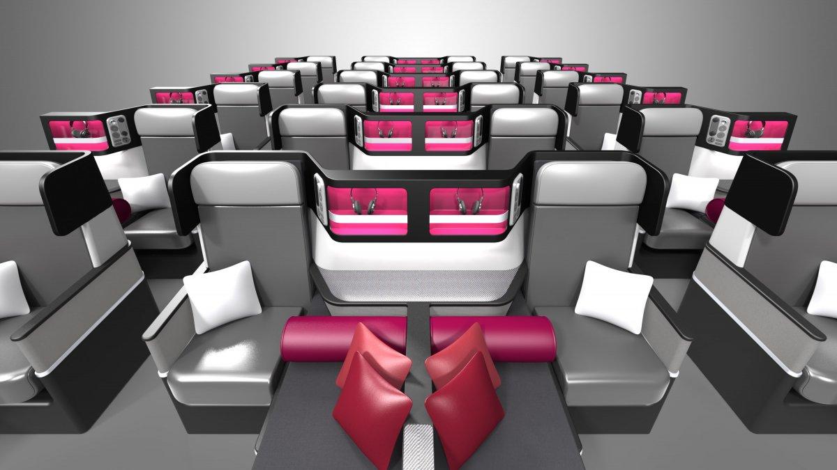 Assentos Butterfly na configuração para a classe executiva. (Divulgação).