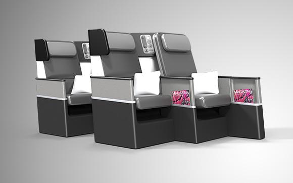 Dupla de poltronas conjugadas em desnível no conceito de assentos Butterfly. (Divulgação).