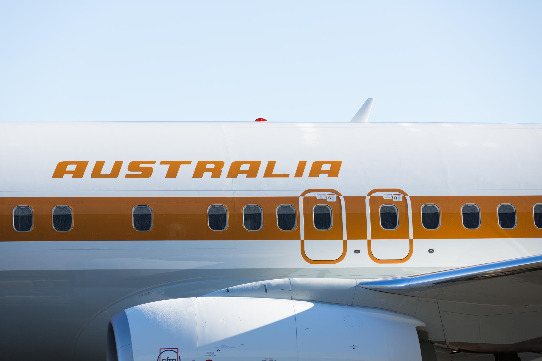 """Faixa alaranjada na fuselagem do """"retro roo"""" representa o deserto australiano. (Divulgação)"""