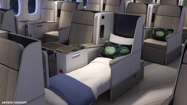 Assentos totalmente reclináveis da aeronave modificada (Imagem: Cortesia da Crystal Cruises)