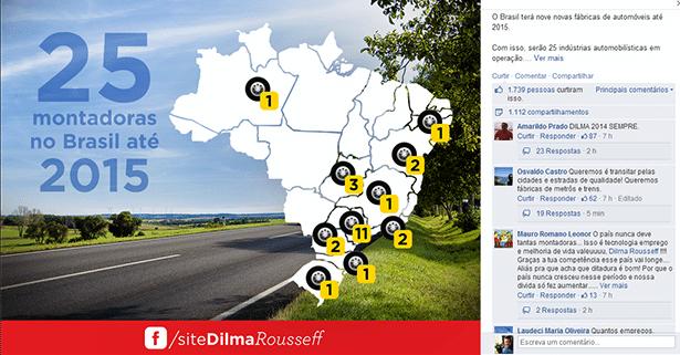 Reprodução do Facebook da presidente Dilma Rousseff com post mencionando as novas fábricas de carros