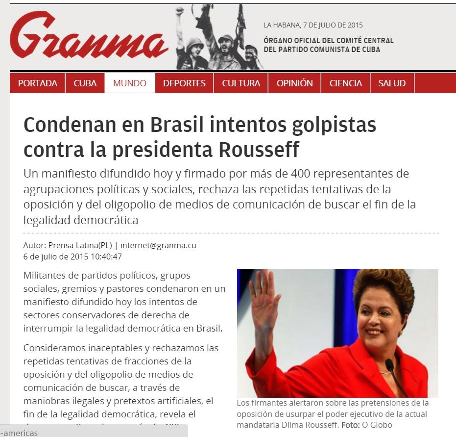 Reportagem no jornal oficial de Cuba sobre 'tentativa de golpe' contra Dilma Rousseff