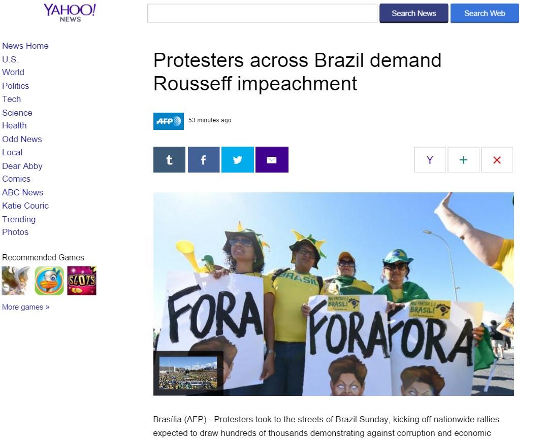Reportagem da agência France Presse sobre os protestos
