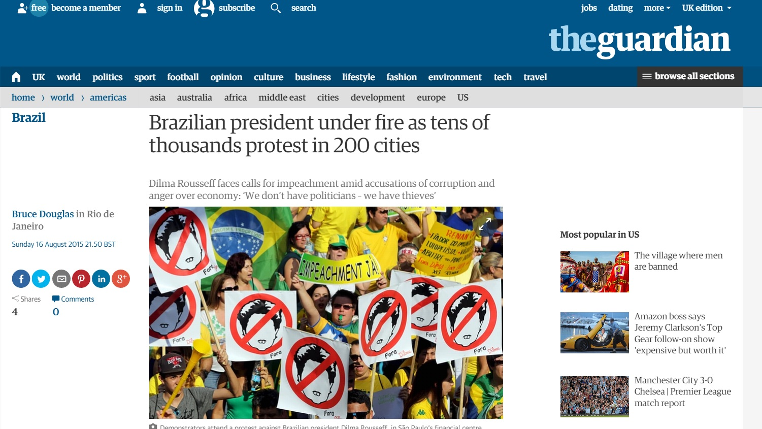 Reportagem do 'Guardian' sobre os protestos
