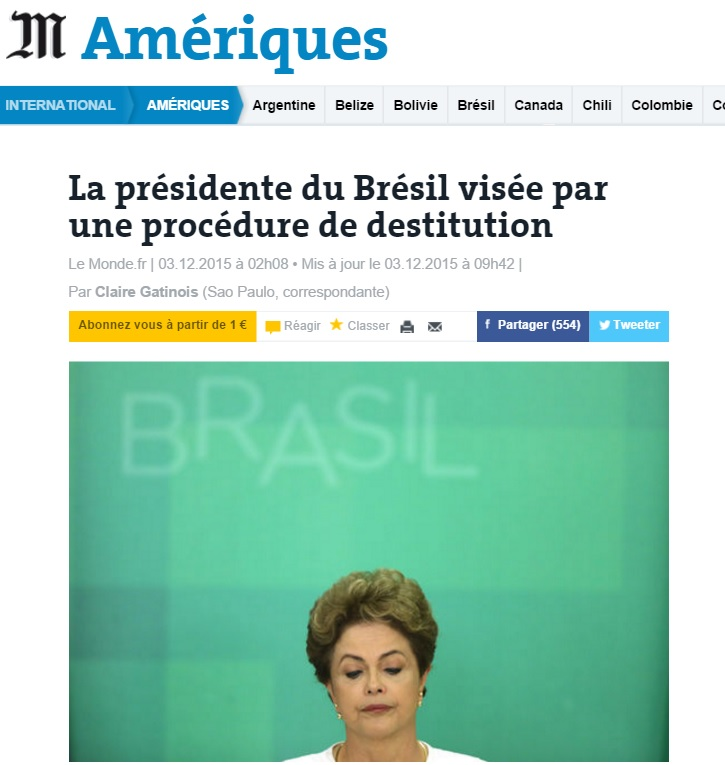 Reportagem sobre impeachment no 'Le Monde'