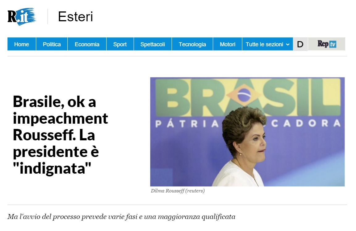 Reportagem sobre impeachment no 'La Repubblica'