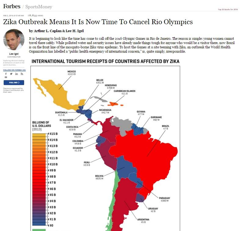 Chegou a hora de cancelar a Olimpíada no Rio, defende revista 'Forbes'