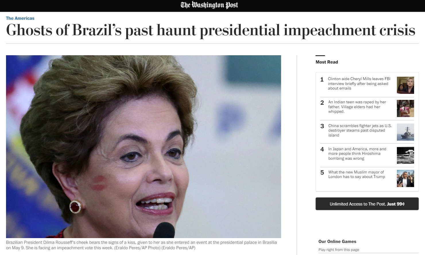 Deu no 'Washington Post': Fantasmas do passado assombram impeachment de Dilma