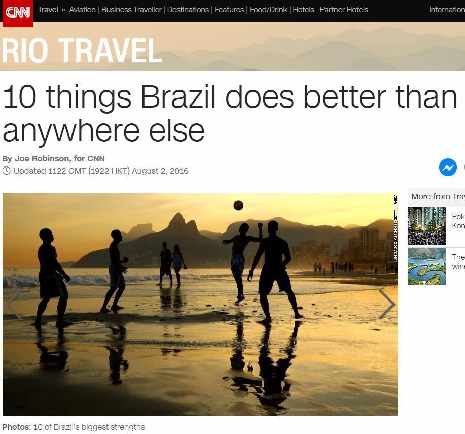 Com foco em diversão, CNN indica dez coisas em que o Brasil é o melhor país