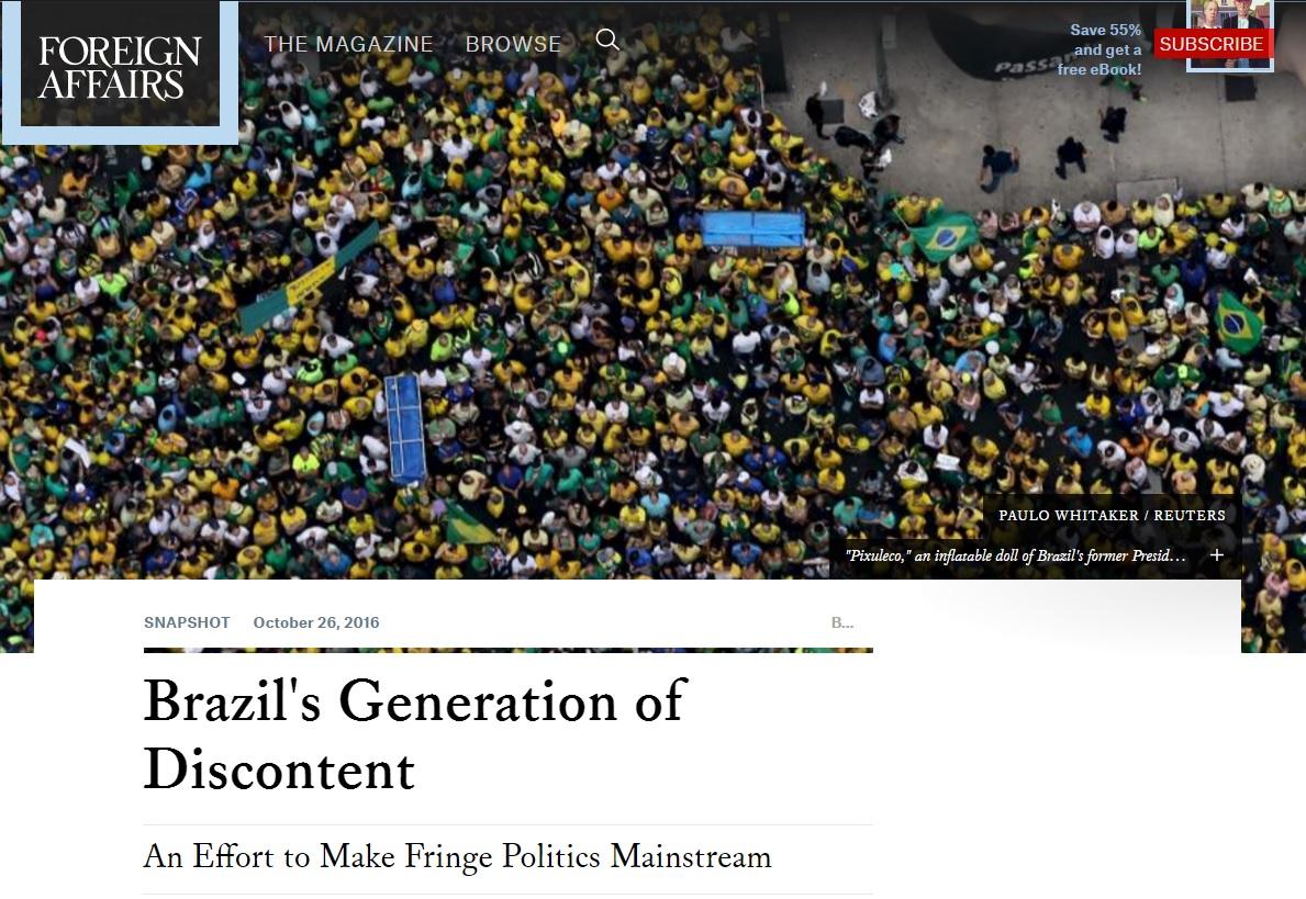 Geração dos descontentes reduz poder de políticos tradicionais, diz revista