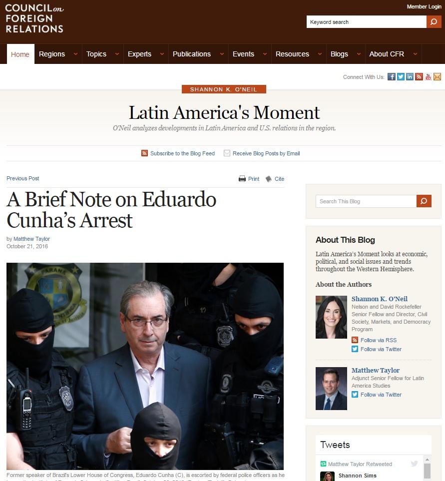 Prisão de Cunha muda narrativa da Lava Jato, diz Matthew Taylor
