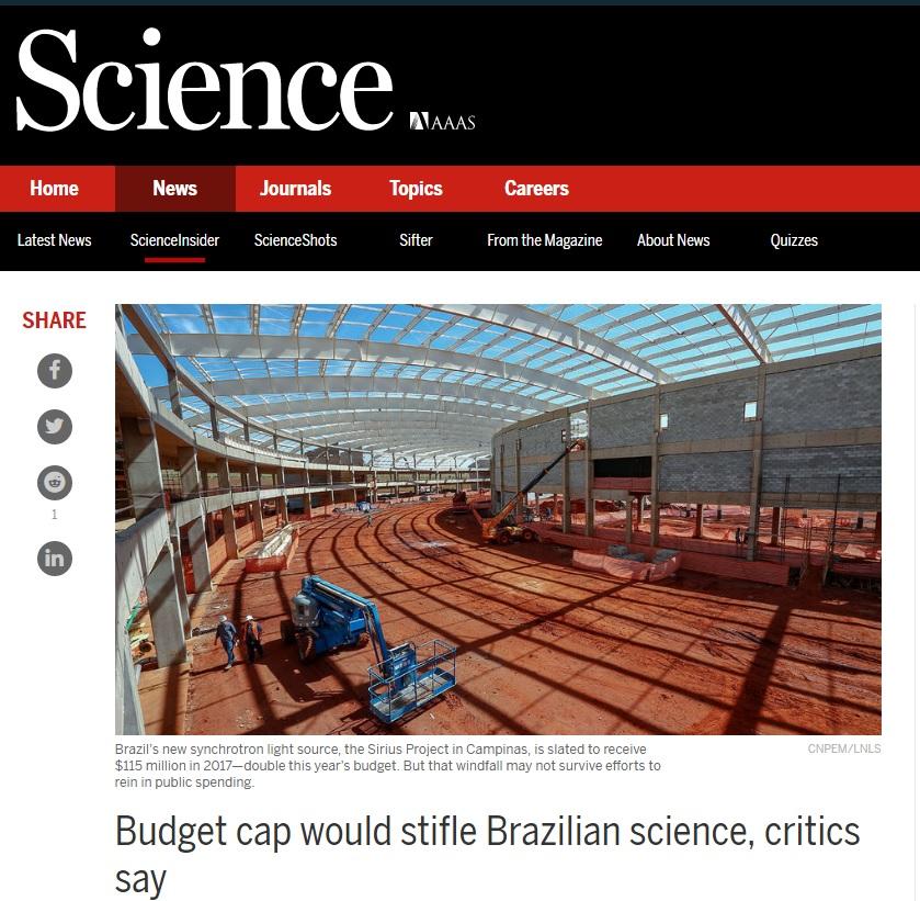 Deu na 'Science': PEC do Teto pode sufocar pesquisas científicas no Brasil