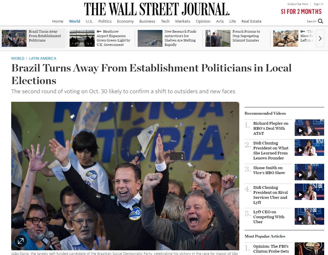 Eleição no Brasil revela raiva e desgosto em relação a políticos, diz 'WSJ'