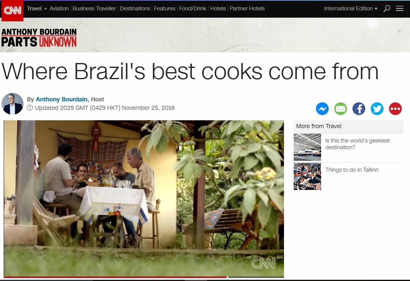 Anthony Bourdain: Desconhecida, Minas Gerais é a terra dos cozinheiros brasileiros