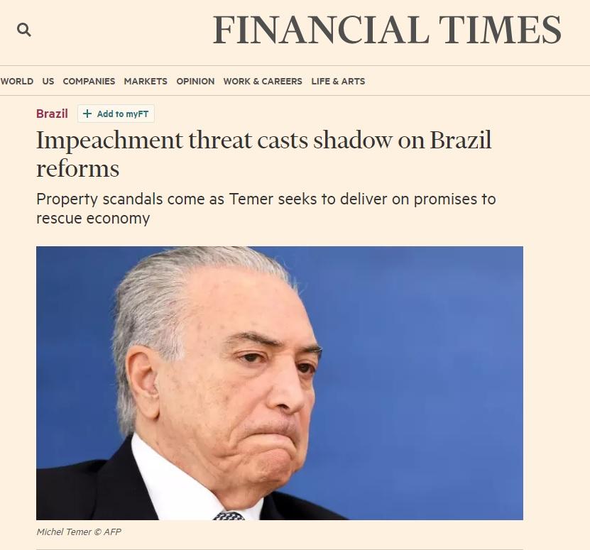 'Financial Times' diz que ameaça de impeachment dificulta reformas de Temer