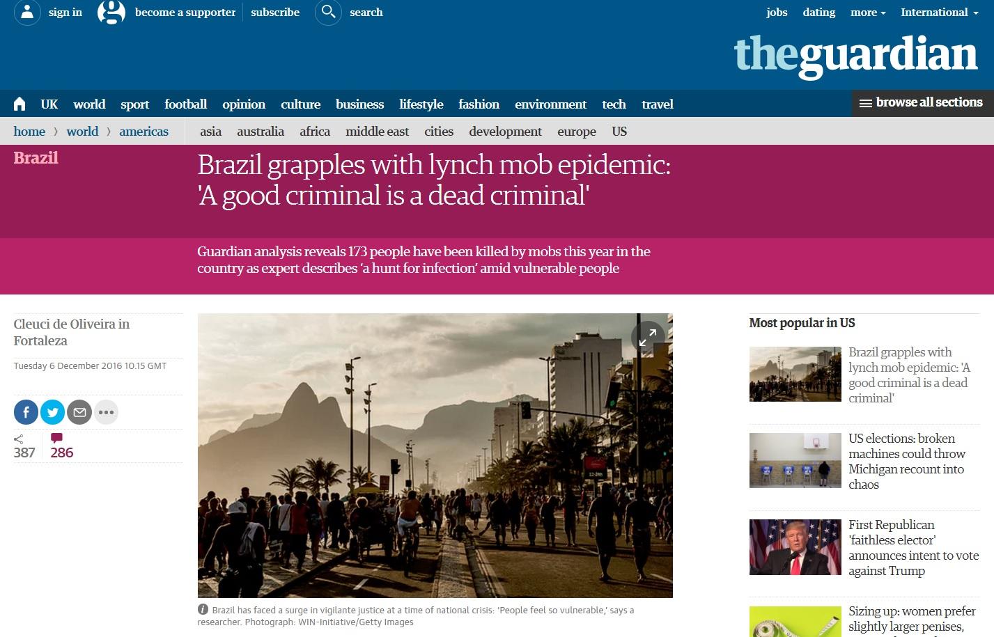 Estudo do 'Guardian' diz que Brasil vive epidemia de linchamentos