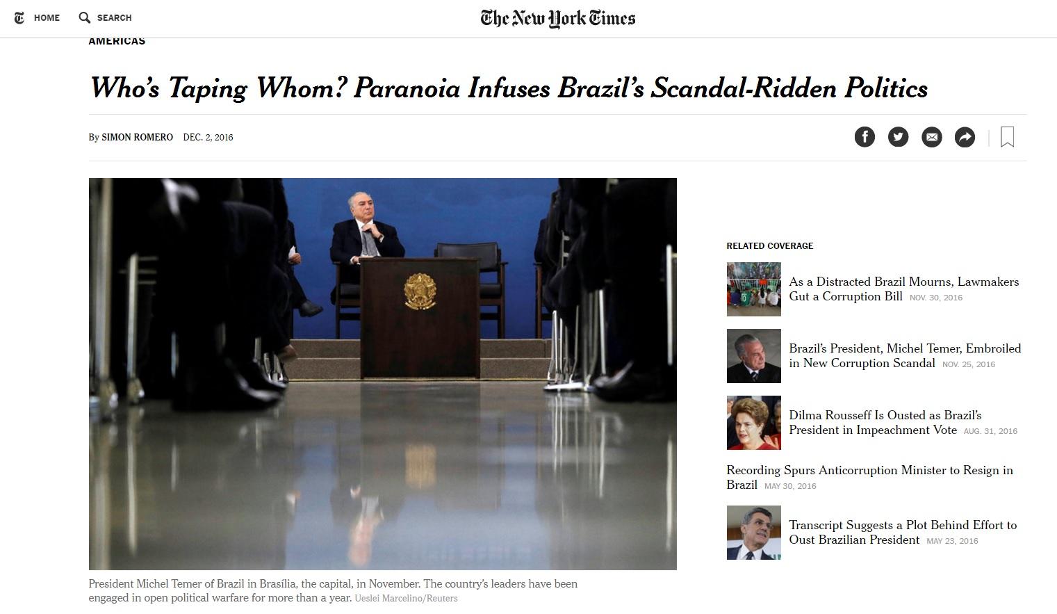 'Guerra política' cria clima de paranoia no Brasil, diz 'New York Times'