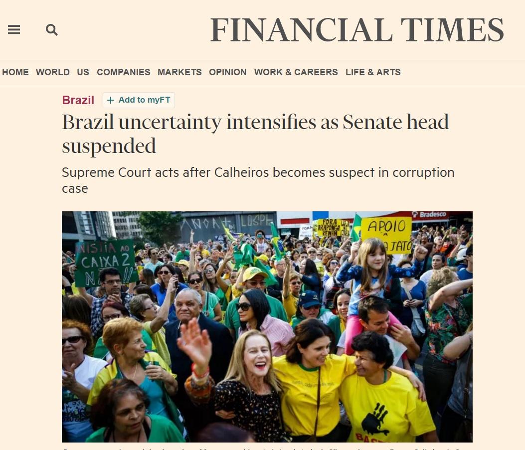Suspensão de Renan aumenta a instabilidade no Brasil, dizem análises estrangeiras