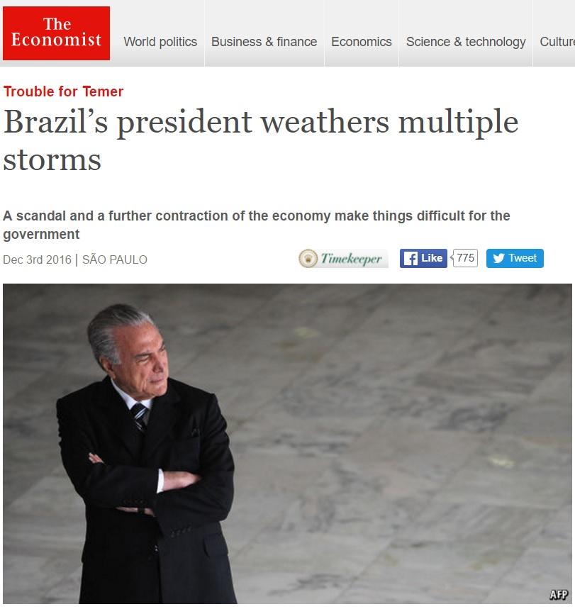 Mundo vê 'tempestades' em crises do governo e 'encolhimento' de Temer