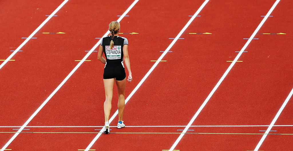 AMSTERDAM, NETHERLANDS - JULY 06:  Yuliya Stepanova of Russia walk off the track after competing in the Women's 800m during Day One of The European Athletics Championships at Olympic Stadium on July 6, 2016 in Amsterdam, Netherlands. (Photo by Ian MacNicol/Getty Images)