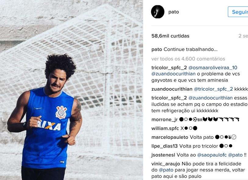 Reprodução do Instagram de Pato na volta ao Corinthians