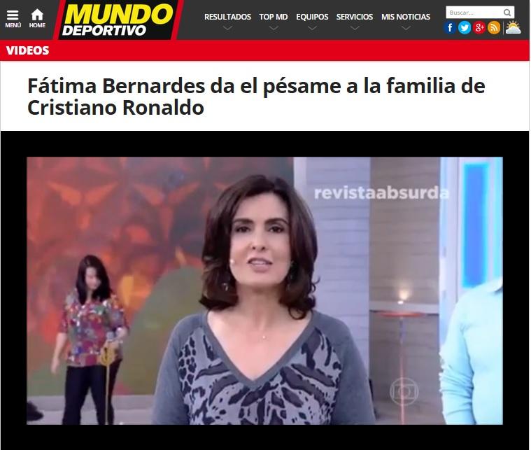 Fátima Bernardes confundiu nome de sertanejo com Cristiano Ronaldo e gafe foi parar na imprensa estrangeira (Reprodução Mundo Deportivo)