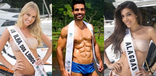 A partir da esq: Miss Ilha dos Lobos, Mister Atol das Rocas e a Miss Alagoas (Divulgação)