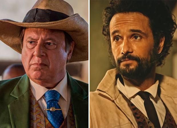 Antônio Fagundes e Rodrigo Santoro como o Coronel Saruê nas duas fases da novela (Foto: Divulgação/TV Globo0