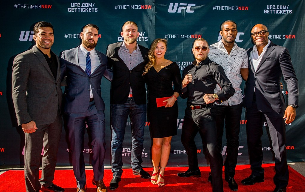 LAS VEGAS, NEVADA - NOVEMBER 17: (L-R) UFC fighters Lyoto Machida, Chris Weidman, Alexander Gustafsson, Ronda Rousey, Conor McGregor, Jon Jones and Anderson Silva arrive at the UFC Time Is Now press conference at The Smith Center for the Performing Arts on November 17, 2014 in Las Vegas, Nevada. (Photo by Elliott Howard/Zuffa LLC/Zuffa LLC via Getty Images)