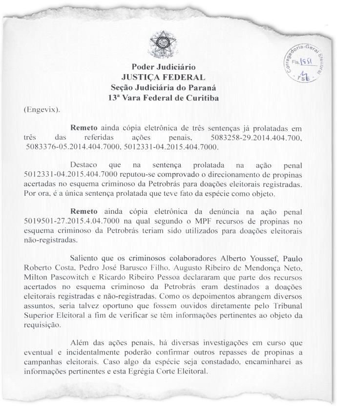 Ofício endereçado por Sérgio Moro ao TSE (reprodução Veja)