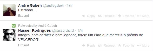 """André Gabeh, do BBB1, achou o resultado """"estranho"""" e retuitou a homenagem de Nasser Rodrigues, do BBB13, ao rapper eliminado"""