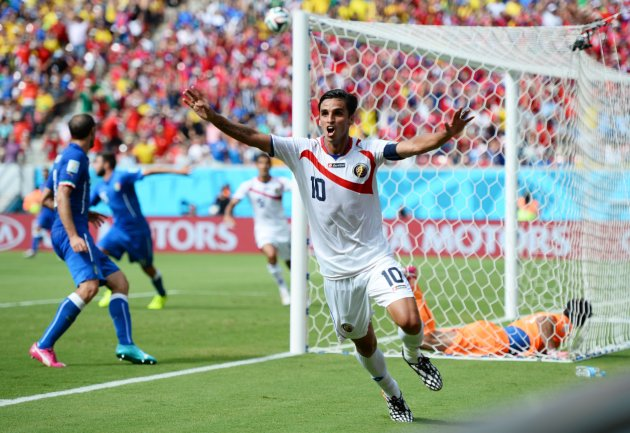 RECIFE, BRAZIL - JUNE 20: Bryan Ruiz of Costa Rica celebrates scoring his team's first goal during the 2014 FIFA World Cup Brazil Group D match between Italy and Costa Rica at Arena Pernambuco on June 20, 2014 in Recife, Brazil. (Photo by Jamie McDonald/Getty Images)