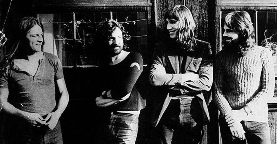 Formação clássica do Pink Floyd, com David Gilmour, Nick Mason, Roger Waters e Richard Wright