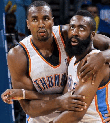 Serge Ibaka e James Harden, unidos no Thunder