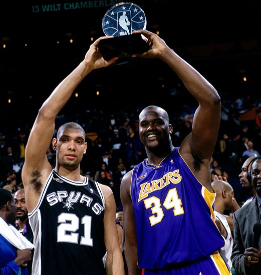 Tim Duncan and Shaquille O'Neal