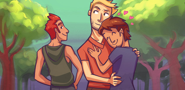 Imagem do casal de namorados e um deles olhando para outro homem