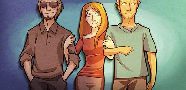 Imagem de uma mulher com dois homens