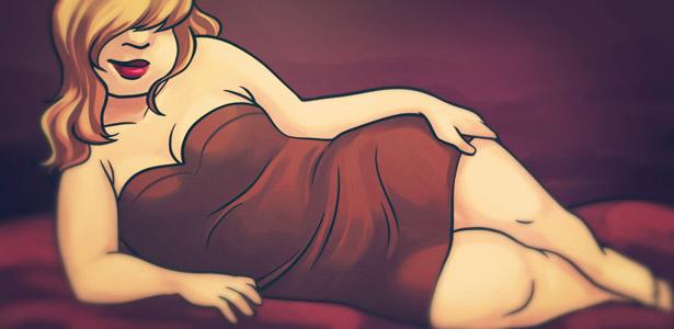 Mulher gordinha deitada
