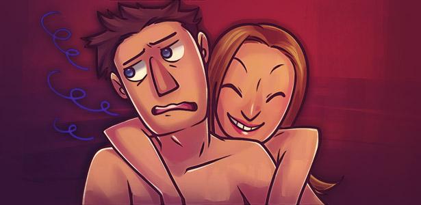 Mulher agarrando parceiro e ele com desagrado