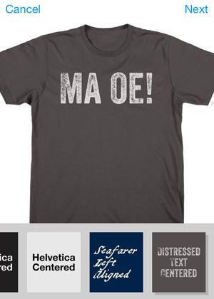 """Na camiseta criada em teste, a frase """"Má Ôe"""" (bordão do apresentador Silvio Santos) apareceu estampada sem acentos"""
