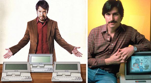 À esq., Murilo Benício caracterizado como Jonas Marra. À dir., Steve Jobs, cofundador da Apple. Qualquer semelhança não é mera coicidência