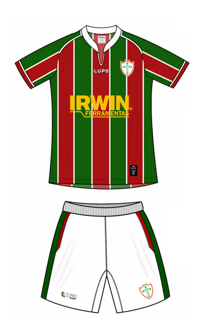 Imagem de como ficaria o uniforme da Portuguesa igual ao do Fluminense. A imagem foi feita por um torcedor e está circulando na internet nos últimos dias.