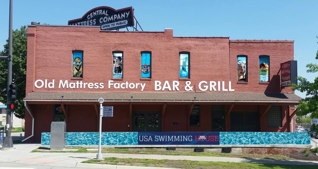 Vista do Old Mattress Factory Bar & Grill, que será a USA Swimming House - Foto: USA Swimming