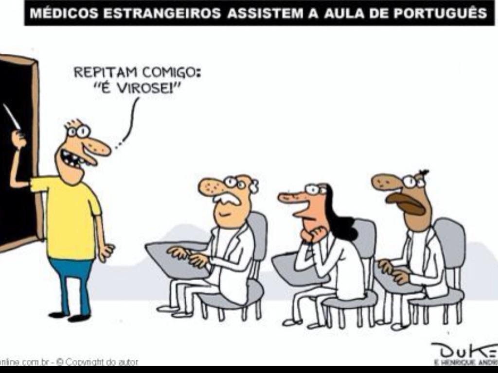 Aula de português para médicos cubanos